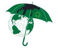 Environment protection concept. Umbrella with environmental arrows protect the Earth Stock Photo