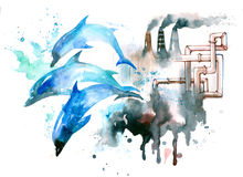 Environment protection. Dolphins perish from water pollution Royalty Free Stock Photos