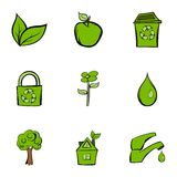 Environment protection icons set, cartoon style Royalty Free Stock Images