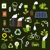 Environment and recycling flat icons Royalty Free Stock Photography