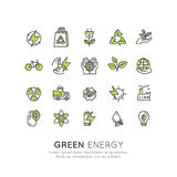 Environment, renewable energy, sustainable technology, recycling, ecology solutions. Icons for website, mobile app design, electri. Vector Icon Style Logo Set vector illustration