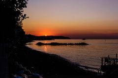 Turkish Seaside Town Sunset Environment Royalty Free Stock Photography