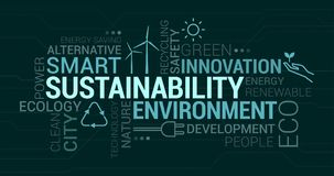 Environment, smart cities and sustainability tag cloud. With icons and concepts royalty free illustration