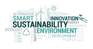 Environment, smart cities and sustainability tag cloud. With icons and concepts vector illustration