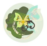 Environment. The stylized butterfly and dragons in Royalty Free Stock Photo