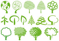 Environment symbols. Simple icons of trees Stock Photography