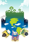 Environment theme poster design with working people Royalty Free Stock Photography