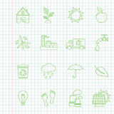 Environment thin line icons. Environment icons on a notebook sheet, thin line style, flat design vector illustration