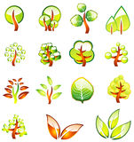 Environment Trees Glossy Icons Stock Photos