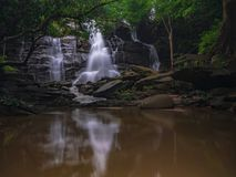 Landscape unseen Thailand waterfall nature view. Environment waterfall nature view somewhere in forest and Asia summer royalty free stock photography