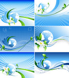 Environmental abstract backdrops set. Vector environmental backgrounds with globe and copy space. Set. Eps10 vector illustration