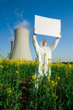 Environmental Activist. Protesting against the setup of a nuclear power plant stock photos