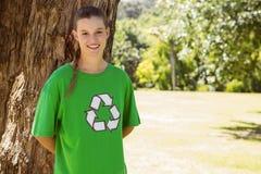 Environmental activist smiling at camera in the park Royalty Free Stock Photos