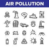 Environmental Air Pollution Linear Icons Vector Set royalty free illustration