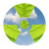 Environmental Atom. Fresh leaves in the form of radioactivity sign against the sky Royalty Free Stock Photos