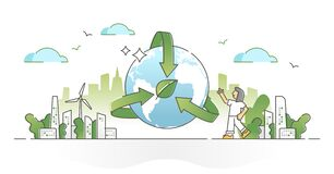 Free Environmental Awareness, Earth Sustainability Preservation Outline Concept Stock Photo - 206637830