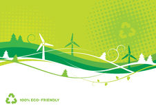 Environmental Background. Eco-Friendly abstract background with wind turbines and trees Stock Photos