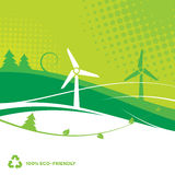 Environmental Background. Eco-Friendly abstract background with wind turbines and trees Royalty Free Stock Image