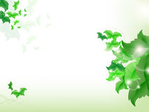 Environmental Background with green leaf butterflies. On a light green background Stock Photo