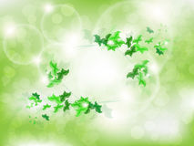 Environmental Background with green leaf butterflies. On a light green background with bokeh lights Stock Photography