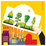 Environmental beautiful plants factories emit toxic fumes ve Stock Photo