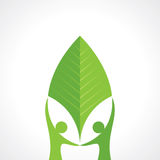 Environmental care  with leaf Royalty Free Stock Image