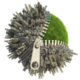 Environmental change concept. Conceptual miniature planet with an open zip fastener for environmental change isolated on white royalty free illustration