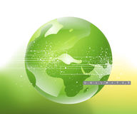 Environmental Concept. Abstract and Business Background with globe map and wavy lines stock illustration