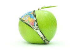 Environmental concept. Green apple with a zip revealing an atlas globe underneath Royalty Free Stock Photography