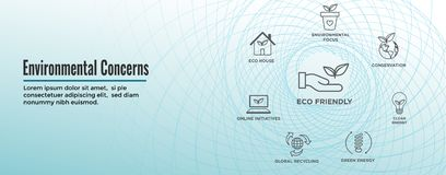 Environmental concerns icons web header banner with green energy, eco house, and earth initiatives vector illustration