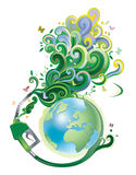 Environmental conservation. The fuel pump and globe Stock Photos