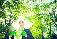 Environmental Conservation Businessman in Superhero  Theme Stock Photo
