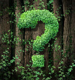 Environmental Conservation. Concept as a forest of trees and a green vine growing into the shape of a question mark as a metaphor for the protection of the of royalty free illustration