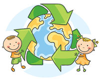 Environmental Conservation. Kids with recycling symbol vector illustration