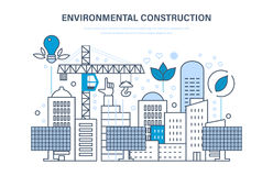 Environmental construction. Construction houses, sites. Protection of environment, eco resources. Stock Image