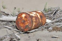 Environmental contamination, sandy beach, Tuscany Royalty Free Stock Photography
