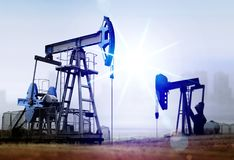 Environmental damage from old oil pumps Royalty Free Stock Photo