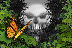 Environmental Destruction of Habitat. Environmental destruction and ecological natural habitat contamination as a butterfly looking at a polluted industrial area royalty free illustration