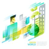 Environmental and ecology concept. Vector abstract green world illustration. Dynamic geometric background. Royalty Free Stock Photography