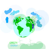 Environmental and ecology concept. Vector green earth with wire Royalty Free Stock Photos