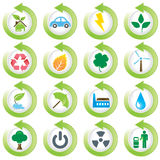 Environmental green icons. Great idea of environmentally friendly concept icons for your website, powerpoint, leaflet etc Stock Images