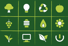 Environmental Green Icons and Graphics. Set of 12 Environmental Green Icons, Graphics, Symbols and Signs Stock Images