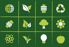 Environmental Green Icons and Graphics. Set of 12 Environmental Green Icons, Graphics, Symbols and Signs Royalty Free Stock Photography