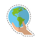 Environmental hand holding world care - dot line Stock Image