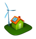Environmental house. Isolated 3D environmental house with solar panels and wind turbine vector illustration
