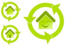 Environmental house. Illustration of environmentally friendly house symbols on white background Royalty Free Stock Photo