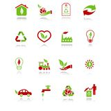 Environmental icons. Set of environmental computer icons with reflection - green-red series Stock Photo