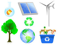 Environmental icons. Set of environmental icons: solar panel, recycling bin, clear water and other Royalty Free Stock Photography