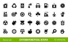 Environmental icons. Black environmental icons isolated on white Stock Photography