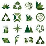 Environmental icons. Sixteen different environmental green icons or logos Stock Photos
